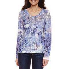 Unity World Wear Long Sleeve V Neck T-Shirt-Womens Petites