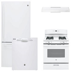 GE® 4-pc. Gas Kitchen Package- White