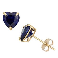 Heart Blue Sapphire 10K Gold Stud Earrings