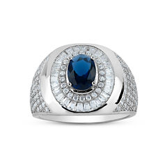 Mens Lab Created Oval Blue Sapphire