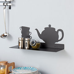 Danya B. Black Metal Kitchen Utility Shelf with Teapot and Coffee Cups Design