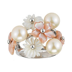 White Cultured Freshwater Pearl & Mother-of-Pearl Ring