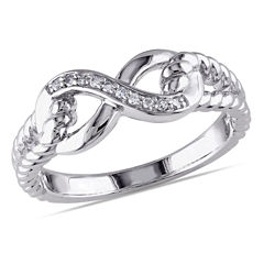 Womens Diamond Accent Genuine White Diamond Accent Sterling Silver Cocktail Ring