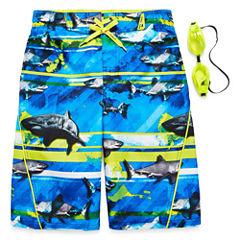 Zero Xposur Boys Frenzied Shark Stripes Swim Trunks-Big Kid
