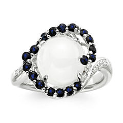Sterling Silver Moonstone and Lab-Created White and Blue Sapphire Ring