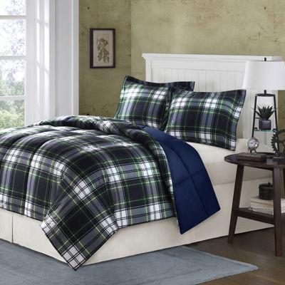 madison park essentials hartford navy plaid comforter set