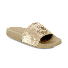 Olivia Miller Crushed Velvet Womens Slide Sandals