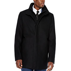 JF J.Ferrar Water Resistant Interior Pockets Woven Topcoat-Big and Tall