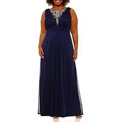 Melrose Sleeveless Embellished Evening Gown-Plus