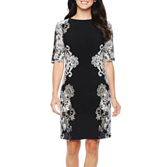 R & K Originals Elbow Sleeve Floral Sheath Dress