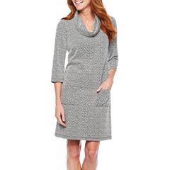 Perceptions 3/4 Sleeve Jacquard Shift Dress