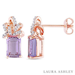 Laura Ashley Purple Amethyst 18K Gold Over Silver Ear Pins