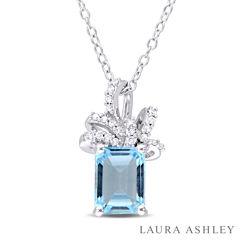 Laura Ashley Blue Blue Topaz Cushion Sterling Silver Pendant