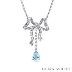 Laura Ashley Blue Blue Topaz Pear Sterling Silver Pendant