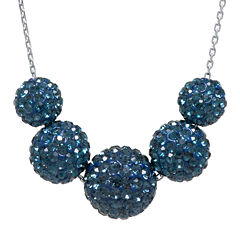 Crystal-Accent Sterling Silver Blue Fireball Bead Necklace