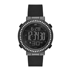 Skechers® Womens Black Dial Black Silicone Strap Digital Watch