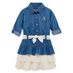 U.S. Polo Assn. Short Sleeve Skater Dress - Preschool Girls