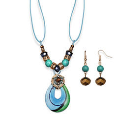 Mixit™ Antiqued Gold-Tone Blue Murano Glass Pendant Necklace and Earring Set