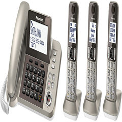 Panasonic KX-TGF353N DECT 6.0 Expandable Corded Phone with 3 Cordless Handsets & Answering Machine - Champagne Gold