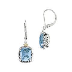 Shey Couture Blue Topaz Sterling Silver and 14K Yellow Gold Earrings