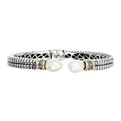 Shey Couture Cultured Freshwater Pearl and Diamond Sterling Silver with 14K Gold Cuff Bracelet