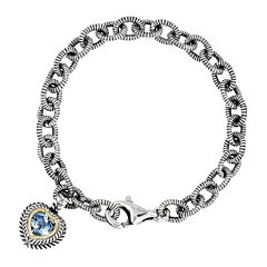 Shey Couture Genuine Swiss Blue Topaz Sterling Silver and 14K Yellow Gold Heart Bracelet