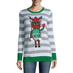 Tiara Reindeer Crew Neck Sweater