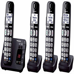Panasonic KX-TGE234B Expandable Digital Cordless Answering System with 4 Handsets - Black
