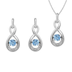 Love in Motion™ Genuine Blue Topaz & Lab-Created White Sapphire Jewelry Set