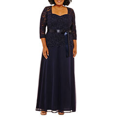 Onyx Nites Long Sleeve Belted Evening Gown-Plus