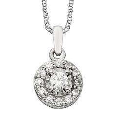 1/4 CT. T.W. Diamond 10K White Gold Round Framed Pendant Necklace