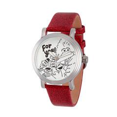 Sesame Street Womens Red Strap Watch-Wss000011