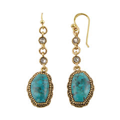 Art Smith by BARSE Genuine Turquoise Brass Linear Drop Earrings