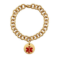 Personalized Gold-Tone IP Stainless Steel Engraved Medical ID Charm Bracelet