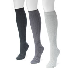 MUK LUKS® Womens 3-pk. Microfiber Knee-High Socks