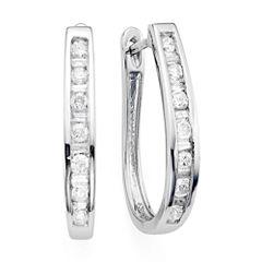 1/2 CT. T.W. Diamond 10K White Gold Hoop Earrings