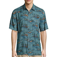 Island Shores Short Sleeve Printed Rayon Button-Front Shirt
