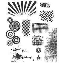 Tim Holtz® Large Cling Rubber Stamp,  Bitty Grunge Set