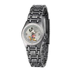 Disney Womens Black Alloy Strap Mickey Mouse Bracelet Watch