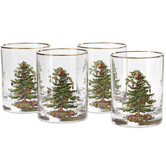 Spode® Christmas Tree Set of 4 Gold-Rim Double Old-Fashioned Glasses