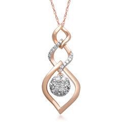 1/3 CT. T.W. Diamond 10K Rose Gold Cluster Triple-Drop Pendant Necklace
