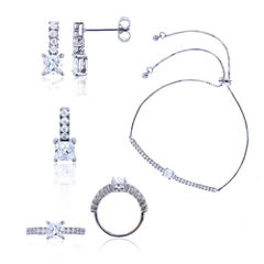 Sterling Silver Princess Cut Cubic Zirconia 4-pc Jewelry Set