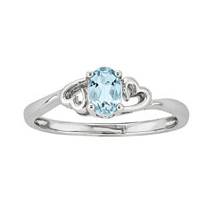 Womens Blue Aquamarine Sterling Silver Solitaire Ring