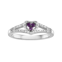 LIMITED QUANTITIES1/7 CT. T.W. White and Color-Enhanced Purple Diamond Sterling Silver Heart Ring