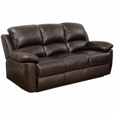 Paisley Leather Pad Arm Reclining Sofa