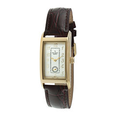 Peugeot® Mens Brown Leather Strap Vintage Old English Doctor's Watch