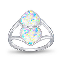 Simulated Opal Sterling Silver Double Heart Ring
