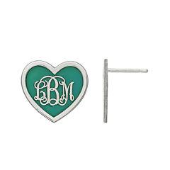 Personalized Sterling Silver 15mm Enamel Heart Monogram Earrings