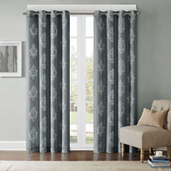 Kensington Damask Grommet-Top Curtain Panel