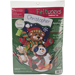 Toboggan Trio Stocking Felt Applique Kit